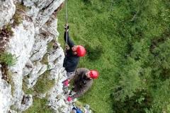 Teambuilding am alpinen Klettersteig.