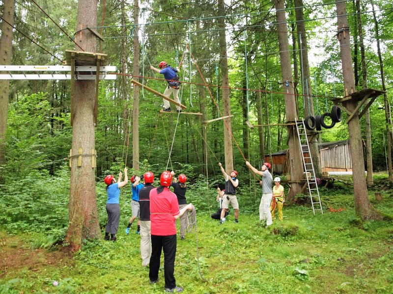 Kletterwald, Teamparcours, Teamevent, Flying Bridges